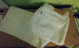 Levis 501 New White Mens 36X34 Shrink to Fit Straight Leg Jeans w Button... - $29.95