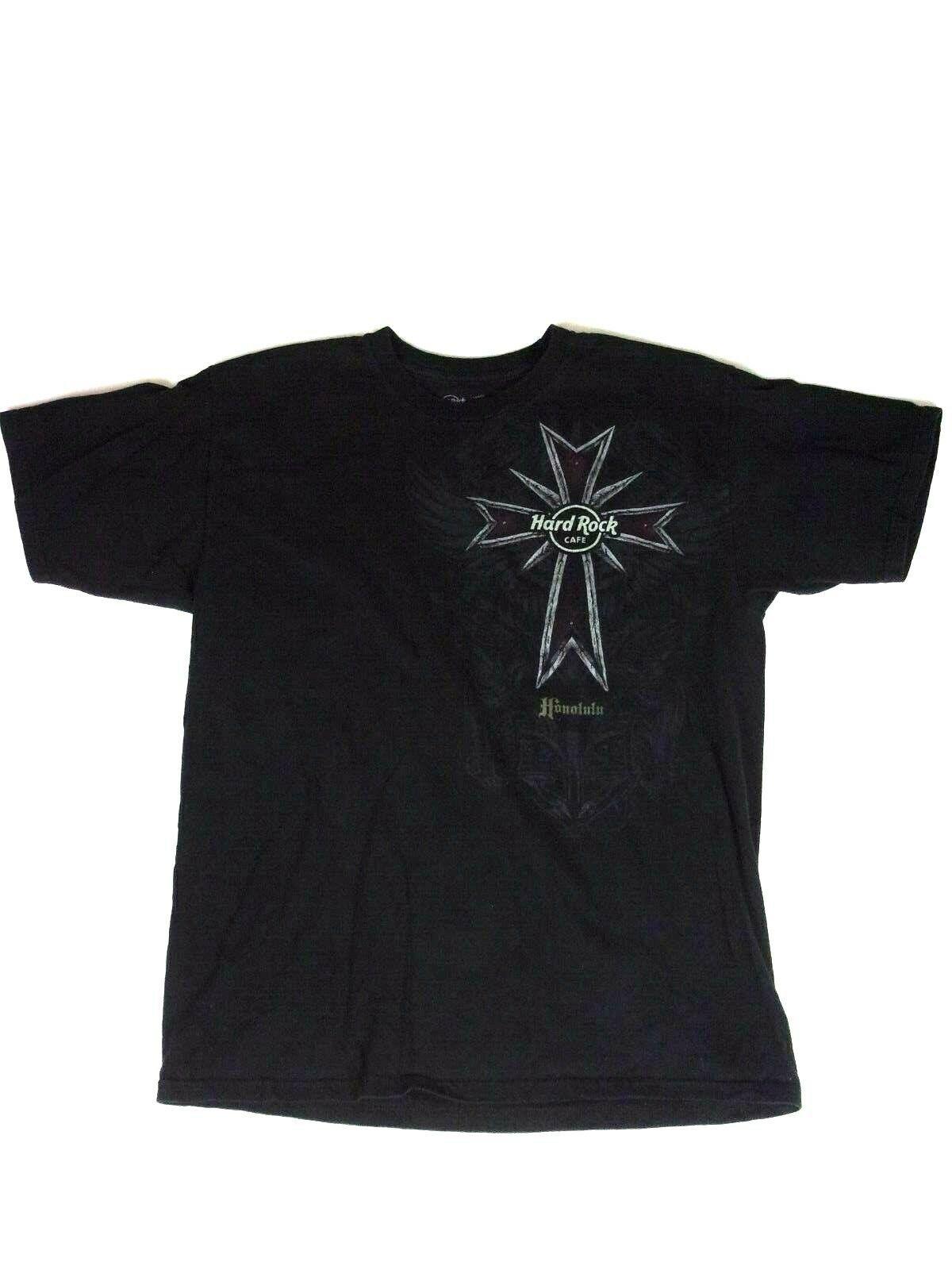 144c59ca VTG Hard Rock Cafe Honolulu Hawaii Guitar Skulls Mens Black Tee Shirt Size  L - $23.34