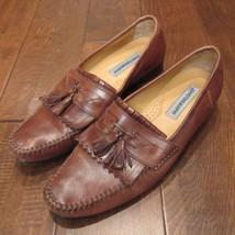 Johnston & Murphy Men's Cognac Brown Tan Leather Tassel Loafers Shoes 11N - $27.47