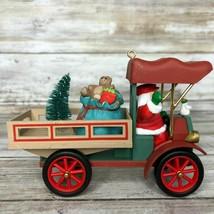 Vintage Hallmark Ornament Santa Claus Driving Flatbed Truck Delivering Presents - $13.99