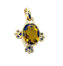fine Citrine CZ Gold Plated Yellow Pendant Fashion Designer US - $5.63