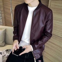 Men Pu Leather Jacket Slim Casual Thin Jackets Fashion Stand Collar Jack... - $48.96