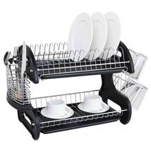 Home Basics Black 2 Tier Kitchen Sink Dish Drainer Set - $29.96