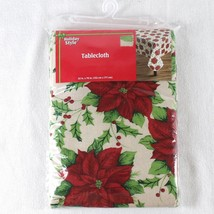 "PEVA Vinyl Tablecloth Poinsettia Tan Red Green Christmas 52"" x 70"" Holid... - $11.99"