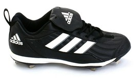 Adidas Black  amp  White Metal Low Baseball Softball Cleats Men  39 ... 2c706d9522eac