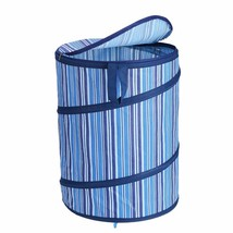 Pop-Up Laundry Hamper Denim-Colored with Lid and Carry Handles - Navy Bl... - $29.96