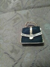 VINTAGE GOLDEN PIN BROOCH ENAMELLED BLACK MONEY BAG ! - $16.00