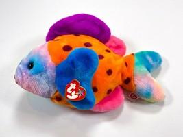 "TY ""Lips"" Beanie Baby Buddies Tye Dye Large Plush Fish 1999 Retired - $29.99"