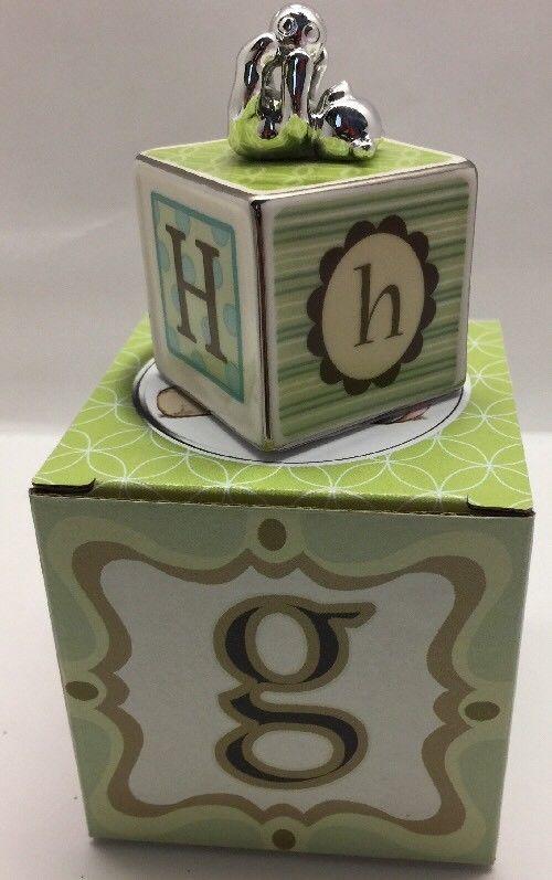 "Ceramic Decoration Baby Block G - H ~ 1 1/2"" x 2 3/4"""