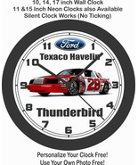 FORD #28 TEXACO HAVELIN NASCAR THUNDERBIRD WALL CLOCK-FREE USA SHIP! - $28.70