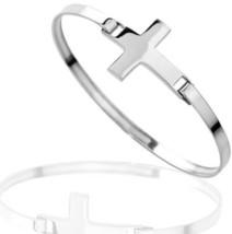 925 Sterling Silver Thick Cross Wrap Bangle Bracelet - $127.27