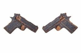 Good Wood New York Nyc Noir Bois Beretta M9 9mm Pistolet Boucles D'Oreilles Nip