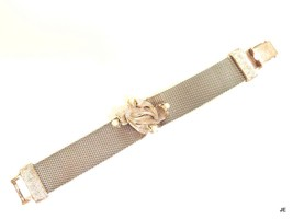 Raised Floral Design W/ Pearl Accent Vintage Silver Plated Mesh Bracelet... - $24.74
