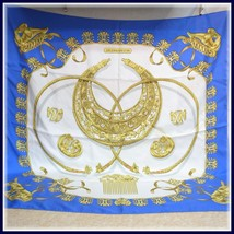 Hermes Scarf Les Cavaliers D'or Silk 90 Cm Blue Carre Shawl Used - $158.94