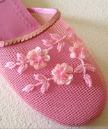 Bubble Gum Pink Floral Beaded Mesh Slippers 8 - $0.00