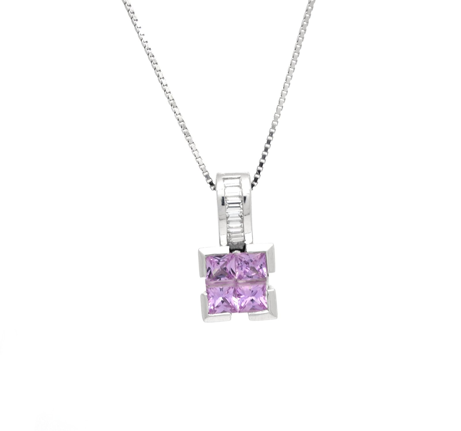 14 K White Gold Genuine Pink Topaz Pendant