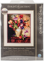 """Dimensions/Gold Collection Counted Cross Stitch Kit 12""""X15""""-Parrot Tulips (18 Co - $48.53"""