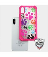 For APPLE iPhone XS/X Colorful Dog Footprints FreeStyle Challenger Hybri... - $13.39