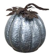 Halloween Silver Large Metal Pumpkin textured m... - $48.00