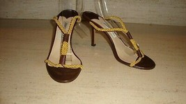 Beautiful New Jimmy Choo Brown Leather Sandals With Twisted Gold Cords - $295.00