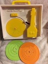 2010 Fisher Price Plastic Wind Up Record Player Music Box 2 Records Works Repro - $11.87