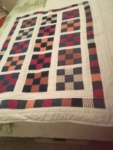 Handmade baby Or Lap quilt using Vintage Print Fabrics In Red And Navy - $60.00