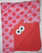 Baby Starters Pink Polka Dot OWL Face Sherpa Blanket 30x40 Lovey Replacement - $15.68