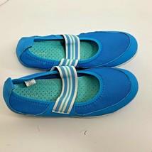 Lands End Girls Sz 3 M Slip On Swim Aqua Water Shoes Blue - $13.99