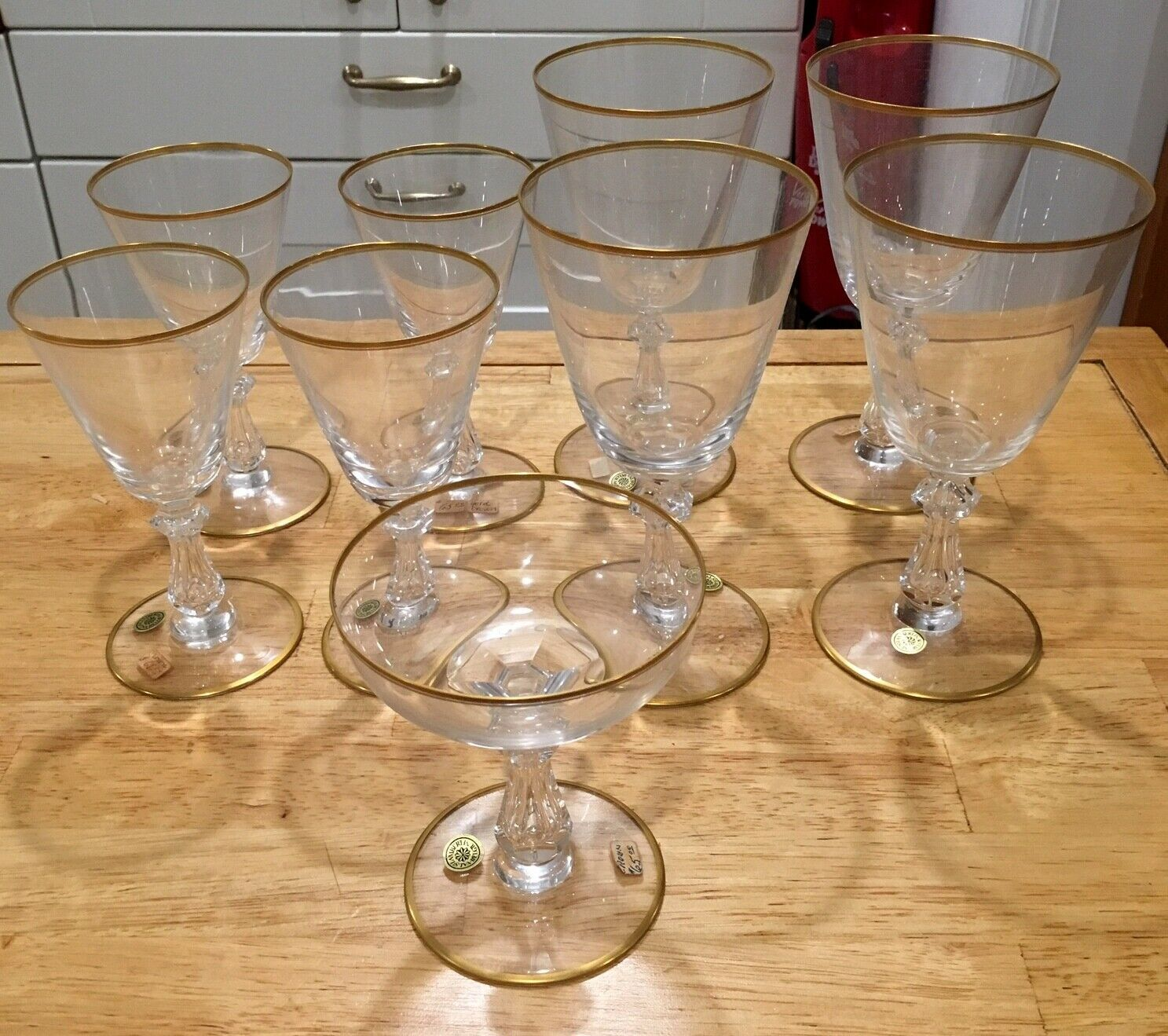 Crown Gold by VAL ST LAMBERT Crystal Glasses set of nine