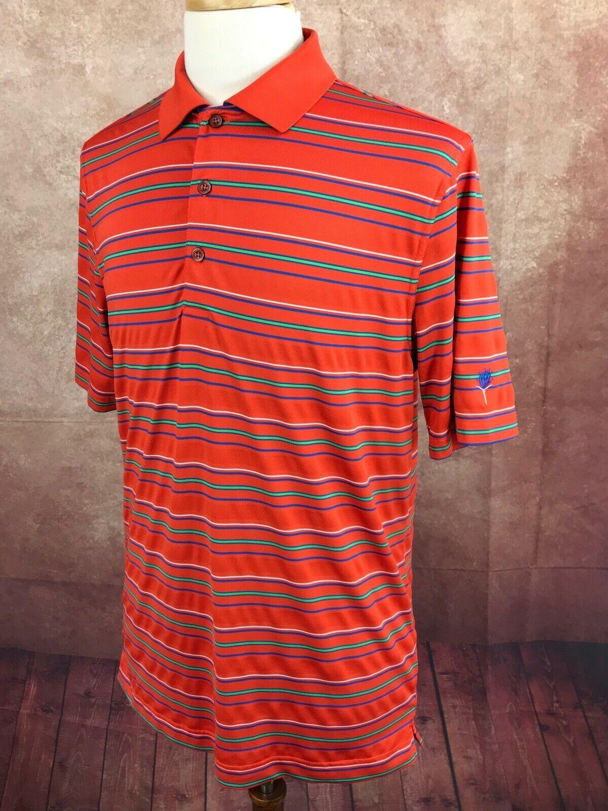 Bobby Jones XH20 Golf Pullover Polo Polyester Blend Orange Stripe Shirt Men's M