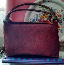 Relic maroon faux leather scroll work textured handbag double brown brai... - $30.00