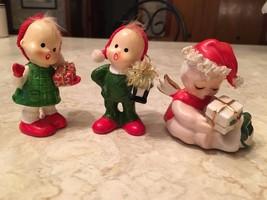 VINTAGE NAPCO Spaghetti trim Christmas baby & 2 carolers boy girl mid-ce... - $29.92