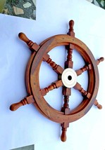 """30"""" Nautical Ship Wheel With BRASS RING WOODEN DECORATIVE - $99.00"""