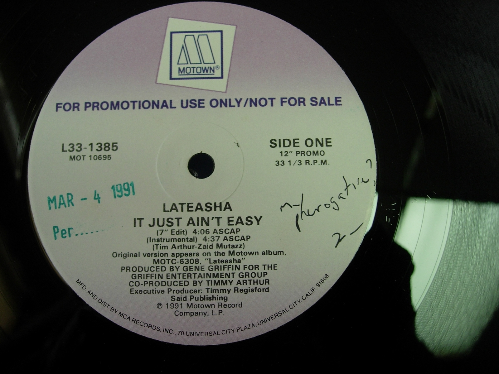 "Lateasha - It Just Ain't Easy  - Motown Records L33-1385 - PROMO - 12"" Single"