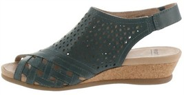 Earth Leather Perforated Wedge Sandals- Pisa Galli Lake Blue 7W NEW A346894 - $52.45