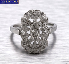 Lovely Ladies Antique Art Deco 14K White Gold 0.34ctw Diamond Cocktail Ring - $599.95