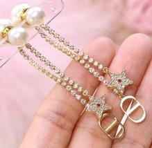 AUTH Christian Dior 2020 GOLD CRYSTAL J'ADIOR DANGLE STAR PEARL EARRINGS  image 3