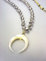 EXQUISITE Dainty Petite Pearl Shell Crescent Moon Hematite Crystals Necklace - $29.99