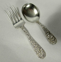 Sterling S Kirk Son Baby Spoon Repousse Kirk Stieff Baby Fork Stieff Ros... - $69.29