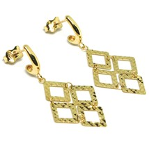 18K YELLOW GOLD PENDANT EARRINGS, OPENWORK FLAT RHOMBUS, BUTTERFLY CLOSURE image 2