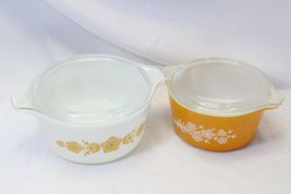 Pyrex Butterfly Gold Casseroles 473B and 474B with lids - $29.39