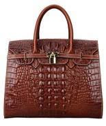 New Crocodile Embossed Italian Leather Birkin Style Handbag Satchel Purs... - $183.10+