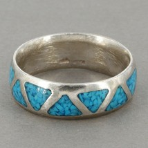 Vtg Southwestern Sterling Silver Crushed Turquoise Inlay Men's Band Ring Sz 9.75 - $17.99