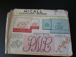 Vintage McCall Kaumagraph Transfer Pattern 447 Monograms Used - $15.00