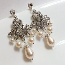 Art Deco Chandelier Pearl Earrings - Vintage Inspired Bridal Jewelry - $41.00