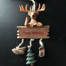 """Holiday Time* 7"""" X 3.75"""" """"Gone Hunting""""+Deer Christmas Ornament Boat+Tree+Cabin - $9.99"""