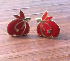Vintage Red Enamel Gold Tone Fruit Flower Swirl Post Earrings - $5.87