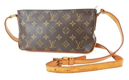 正宗LOUIS VUITTON Trotteur Monogram斜挎包肩包钱包#...-$ 525.00