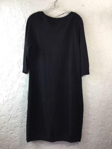 e8d7aa9c10 ... Cato Women s Black Sweater Dress Medium M Long 3 4 Sleeves 100% Acrylic  ...