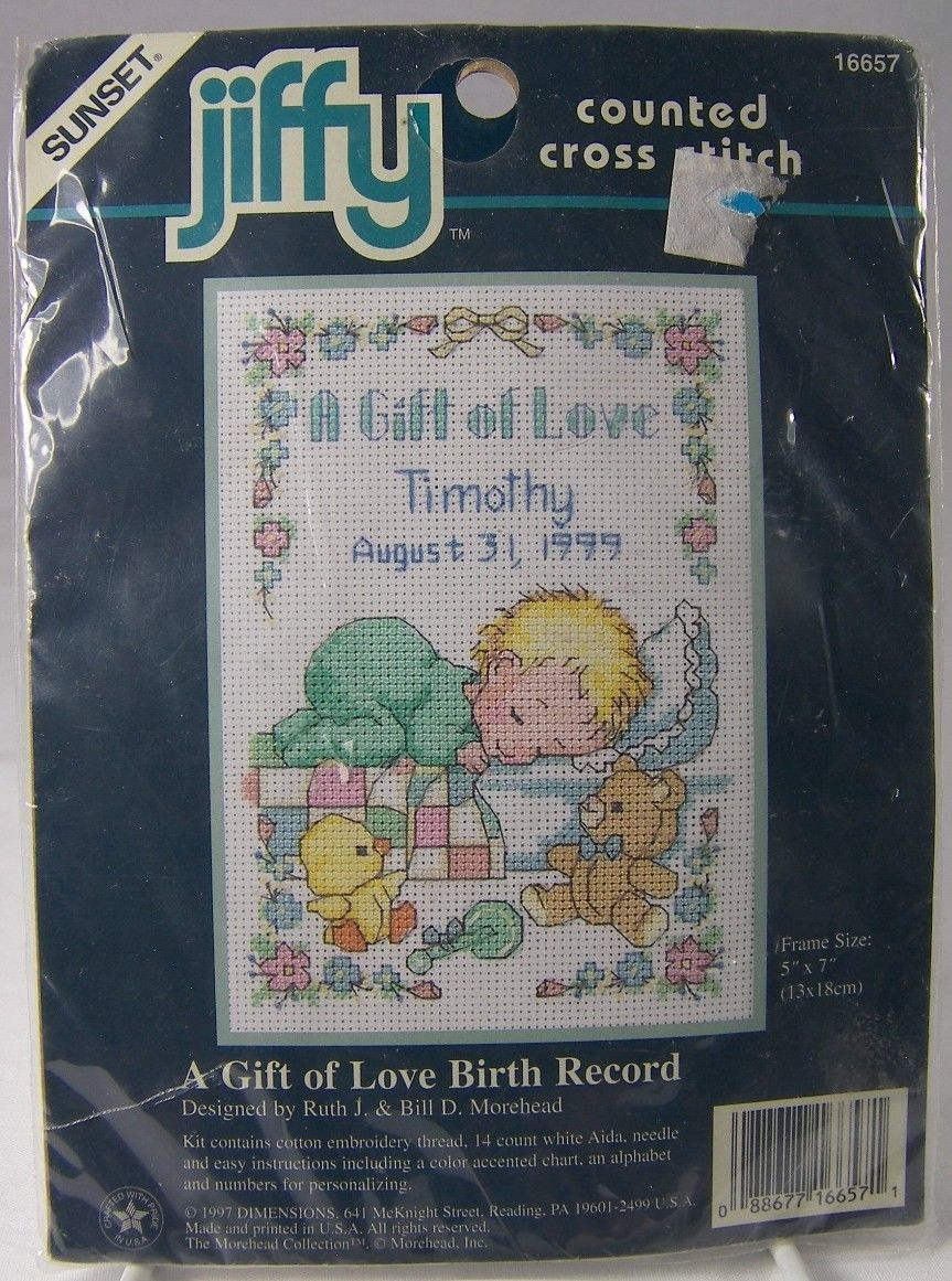 "Gift of Love Birth Record Cross Stitch Picture 16657 Baby 5 x 7"" Sunset Jiffy"